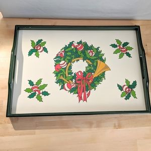 Vintage Christmas holly wreath serving tray